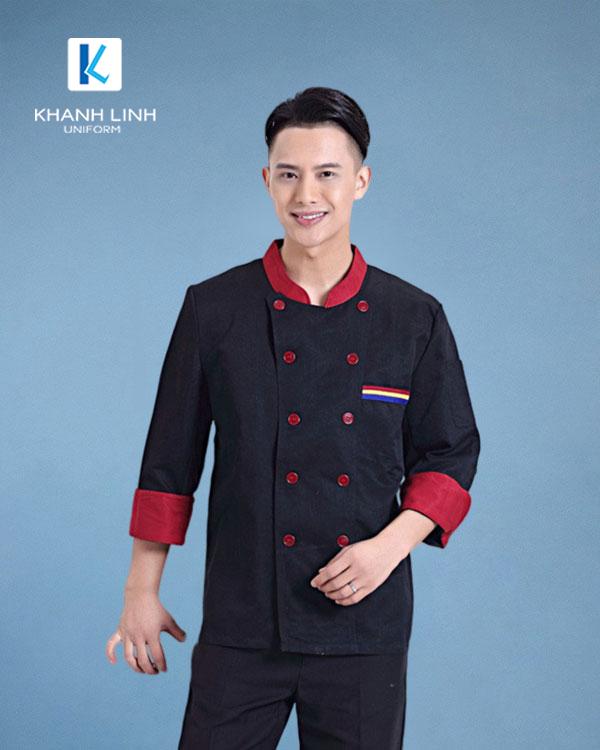 Đồng phục áo đầu bếp nhà hàng mẫu 33 màu đen cho nam