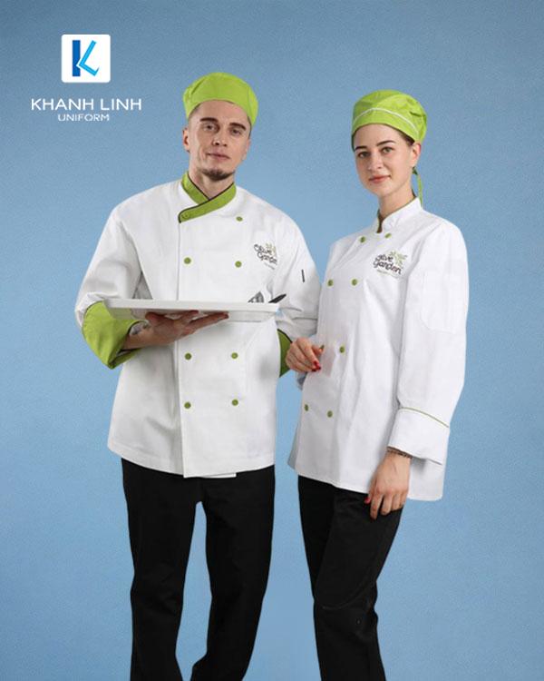 Đồng phục áo đầu bếp nhà hàng mẫu 34 màu trắng ảnh 1