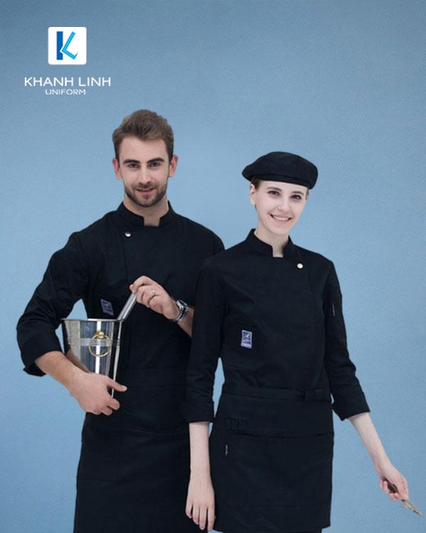 Đồng phục áo đầu bếp nhà hàng mẫu 36 màu đen