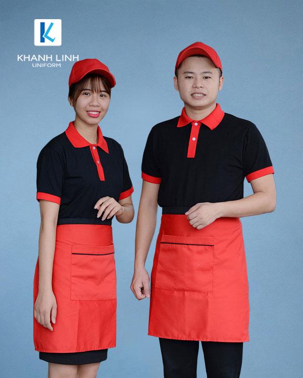 COMBO áo phông cổ bẻ màu đen tạp dề ngắn màu cam 1