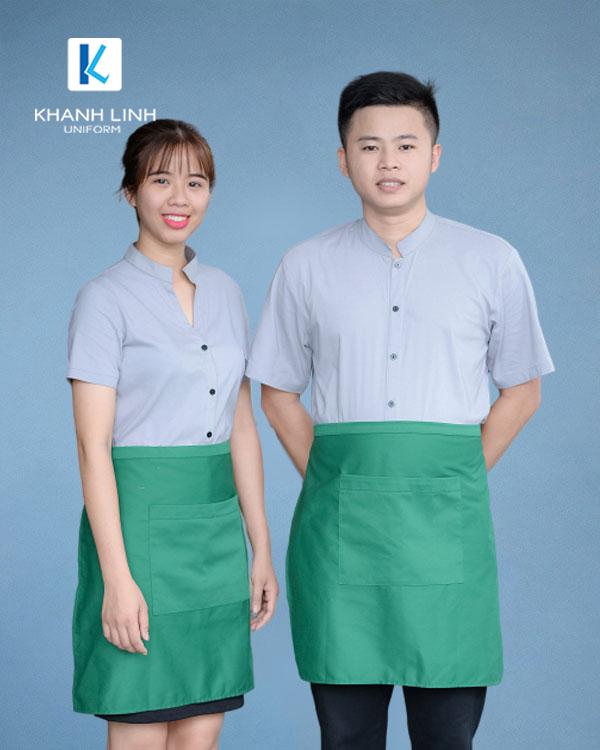 COMBO áo sơ mi xanh nhạt tạp dề xanh - 1